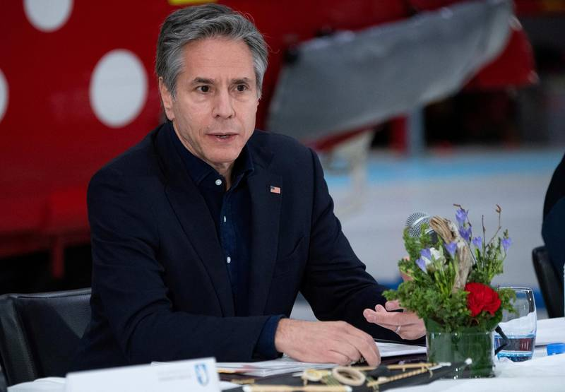 FILE PHOTO: US Secretary of State Antony Blinken speaks during a press conference at the Kangerlussuaq Airport in Greenland, May 20, 2021. Saul Loeb/Pool via REUTERS/File Photo