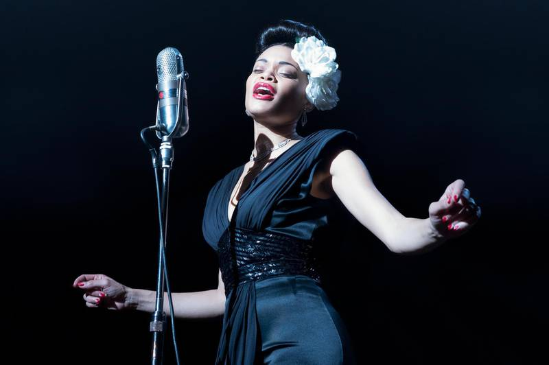 """This image released by Paramount Pictures shows Andra Day in """"The United States vs Billie Holiday."""" Day accepted the award best actress in a motion picture drama at the Golden Globe Awards on Sunday, Feb. 28, 2021. (Takashi Seida/Paramount Pictures via AP)"""