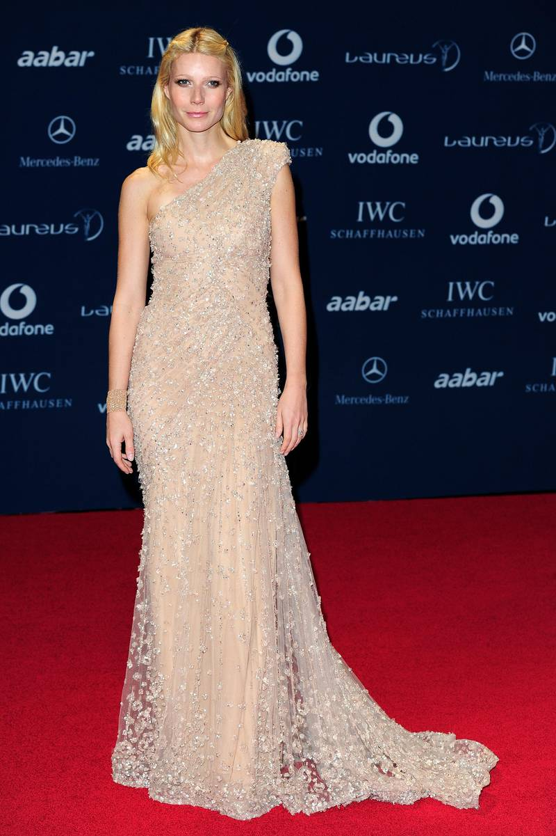 ABU DHABI, UNITED ARAB EMIRATES - MARCH 10:  Actress Gwyneth Paltrow arrives at the Laureus World Sports Awards 2010 at Emirates Palace Hotel on March 10, 2010 in Abu Dhabi, United Arab Emirates.  (Photo by Gareth Cattermole/Getty Images for Laureus)