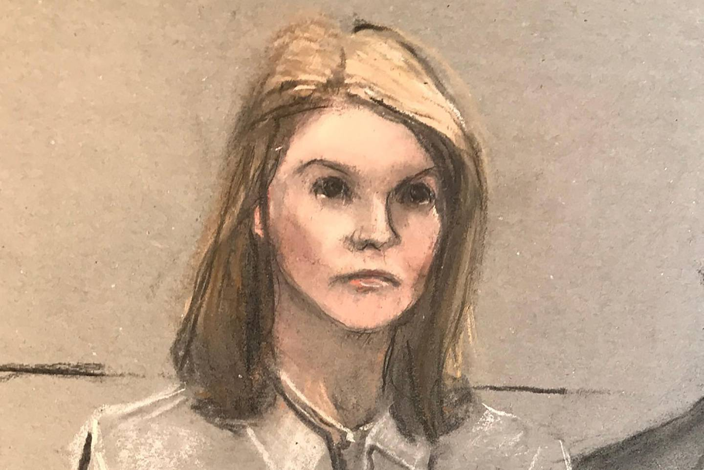"""""""Full House"""" actress Lori Loughlin appears on screen during a virtual court hearing where she was sentenced to a prison term of two months for participating in a vast U.S. college admissions scam, in a courtroom sketch in Boston, Massachusetts, U.S. August 21, 2020. Jane Collins via REUTERS.  NO RESALES. NO ARCHIVES. MANDATORY CREDIT"""