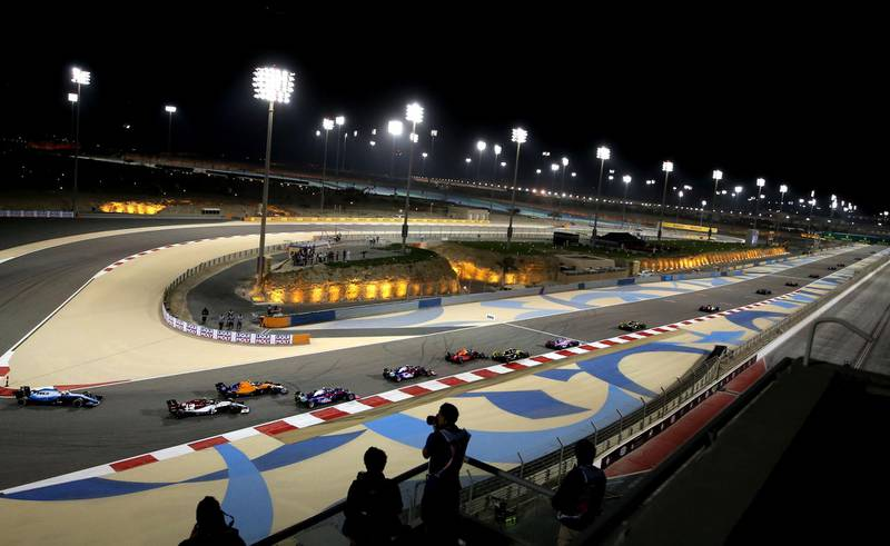(FILES) In this file photo taken on March 31, 2019, drivers steer their cars during the Formula One Bahrain Grand Prix at the Sakhir circuit in the desert south of the Bahraini capital Manama. Bahrain's Formula 1 Grand Prix scheduled for March 20-22 will be held without spectators, the organisers said on March 8, in the latest sporting event to be hit by measures to contain the new coronavirus. / AFP / Andrej ISAKOVIC