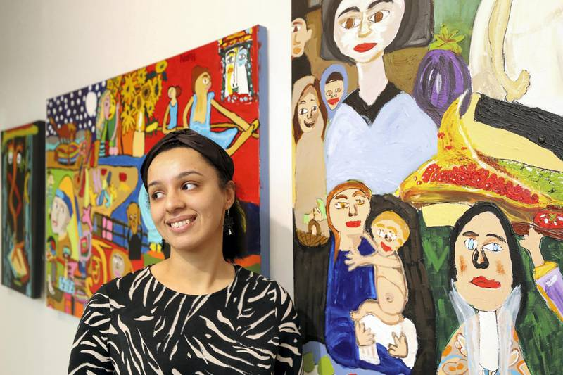 Dubai, United Arab Emirates - November 30, 2020: Masterpieces by Namrata Pagarani. Mawaheb, an art studio for people with disabilities, hosts its final exhibition before it closes. Monday, November 30th, 2020 in Dubai. Chris Whiteoak / The National