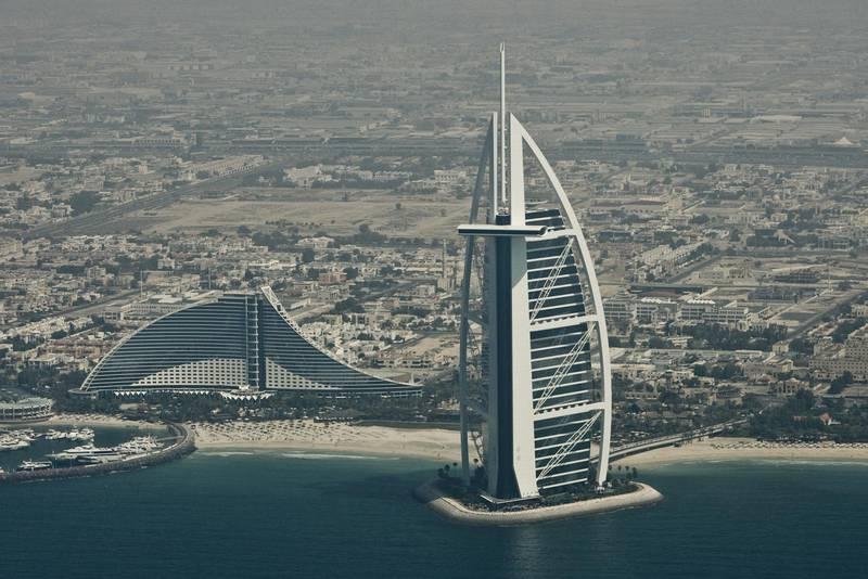 Random overview shots of Dubai, UAE. Burj Al Arab and Jumeirah Beach Hotel. 2009.