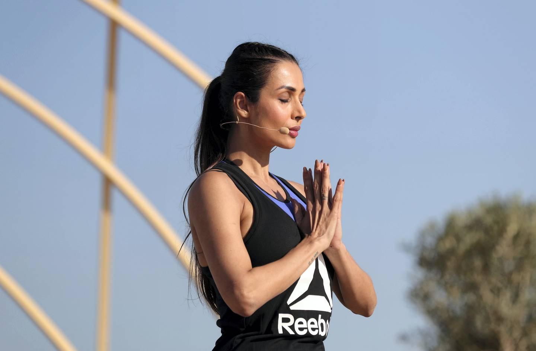 Dubai, United Arab Emirates - March 16th, 2018: A mass yoga session hosted by Bollywood actress Malaika Arora as part of X Yoga Dubai. Friday, March 16th, 2018. Kite Beach, Dubai. Chris Whiteoak / The National