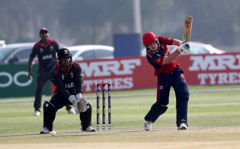 ABU DHABI , UNITED ARAB EMIRATES , October 22  – 2019 :- Ben Ward of Jersey playing a shot during the World Cup T20 Qualifiers between UAE vs Jersey held at Tolerance Oval cricket ground in Abu Dhabi.  ( Pawan Singh / The National )  For Sports. Story by Paul