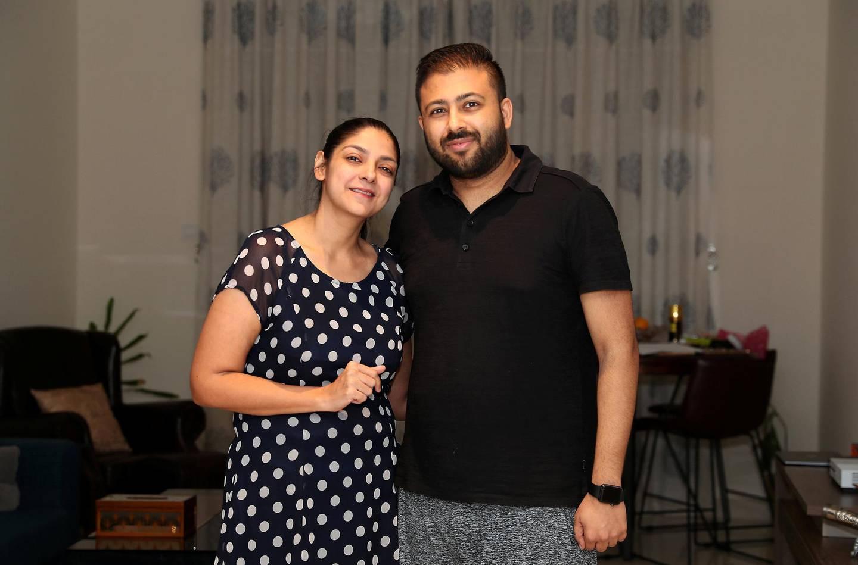 DUBAI, UNITED ARAB EMIRATES , November 18 – 2020 :- Dinesh Ochani with his wife Karishma Vachani at their home in Dubai. (Pawan Singh / The National) For Business. Story by Deepthi