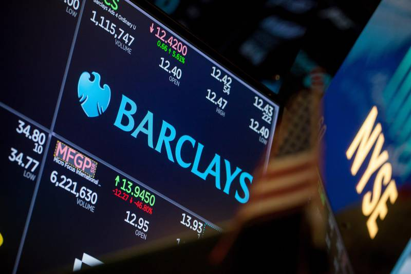 A monitor displays Barclays PLC signage on the floor of the New York Stock Exchange (NYSE) in New York, U.S., on Monday, March 19, 2018. Stocks declined globally on Monday amid a technology selloff and as investors braced for a week packed with risk events, from central bank decisions to a G-20 gathering. Government bonds also fell, while the pound jumped on a Brexit breakthrough. Photographer: Michael Nagle/Bloomberg