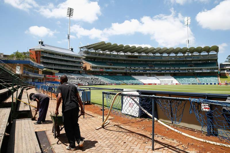 JOHANNESBURG, SOUTH AFRICA - JANUARY 11:  Ground staff prepare the stadium during England media access at the Wanderers Stadium on January 11, 2016 in Johannesburg, South Africa.  (Photo by Julian Finney/Getty Images)