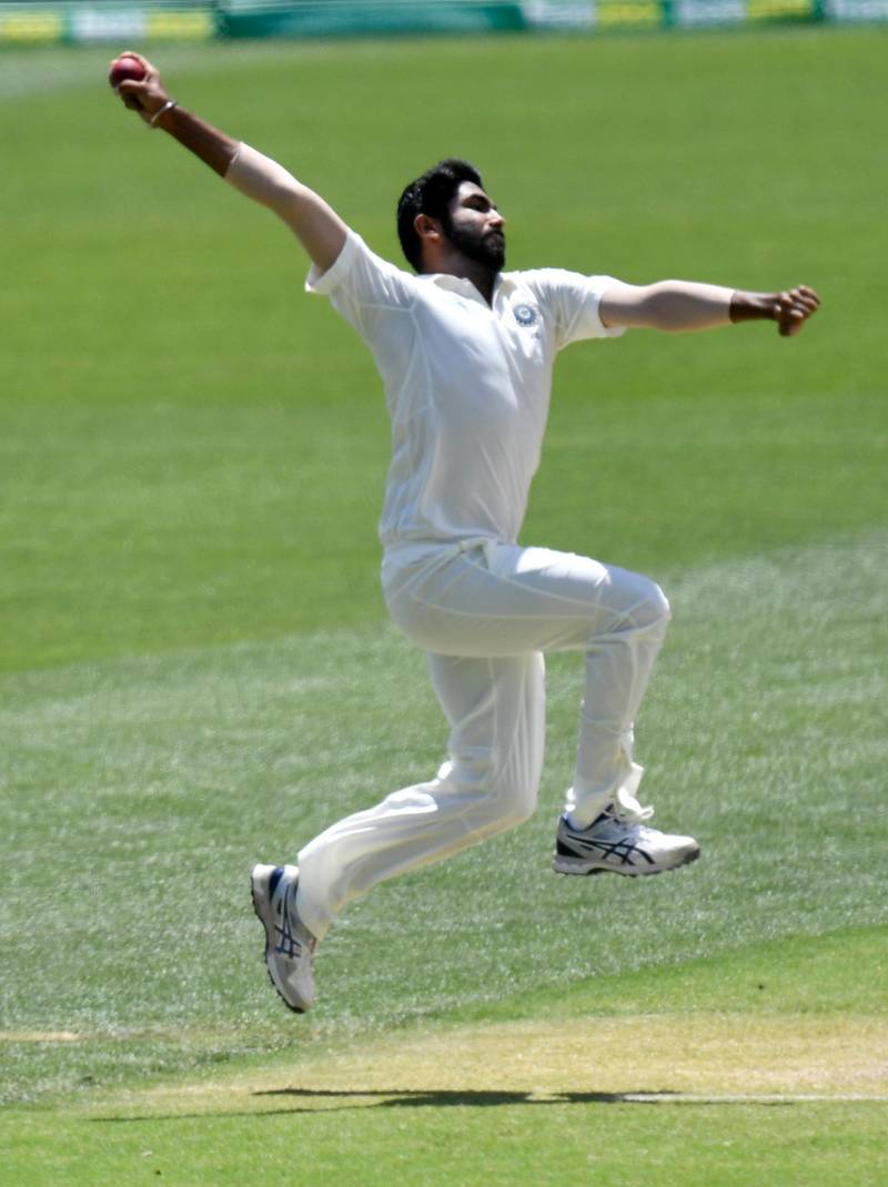 epa07220816 Jasprit Bumrah of India in action during day five of the first Test Match between Australia and India at the Adelaide Oval in Adelaide, Australia, 10 December 2018.  EPA/KELLY BARNES NO ARCHIVING, EDITORIAL USE ONLY, IMAGES TO BE USED FOR NEWS REPORTING PURPOSES ONLY, NO COMMERCIAL USE WHATSOEVER, NO USE IN BOOKS WITHOUT PRIOR WRITTEN CONSENT FROM AAP AUSTRALIA AND NEW ZEALAND OUT