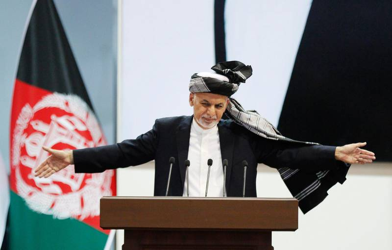 epa08225799 (FILE) - Afghan President Ashraf Ghani reacts during the closing ceremony of the Afghan government's Loya Jirga (lit. Grand Assembly) in Kabul, Afghanistan, 03 May 2019 (reissued 18 February 2020). According to reports citing the Independent Election Commission (IEC), Ghani has won the Afghan presidential election.  EPA/JAWAD JALALI *** Local Caption *** 55165451