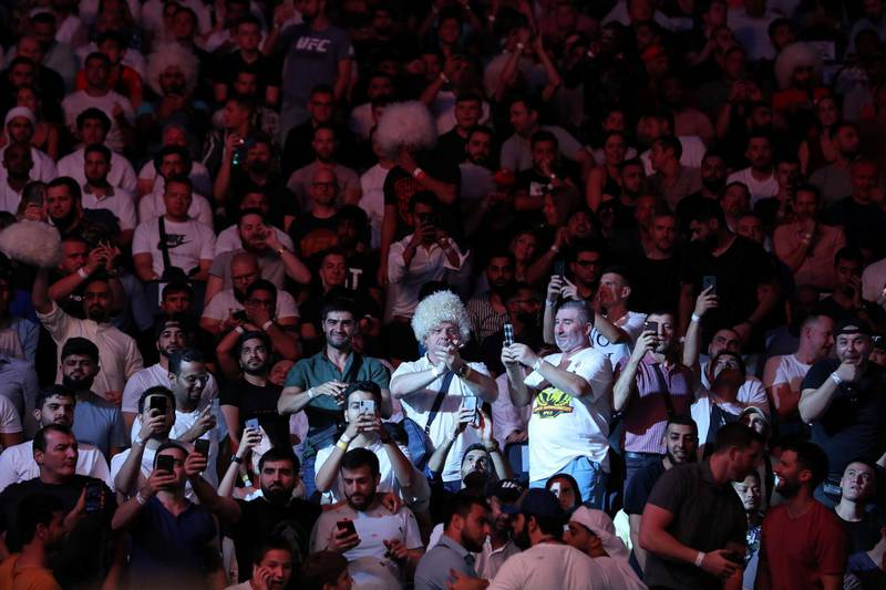 Abu Dhabi, United Arab Emirates - September 07, 2019: Fight Fans. Heavyweight bout between Curtis Blaydes and Shamil Abdurakhimov in the Main card at UFC 242. Saturday the 7th of September 2019. Yas Island, Abu Dhabi. Chris Whiteoak / The National
