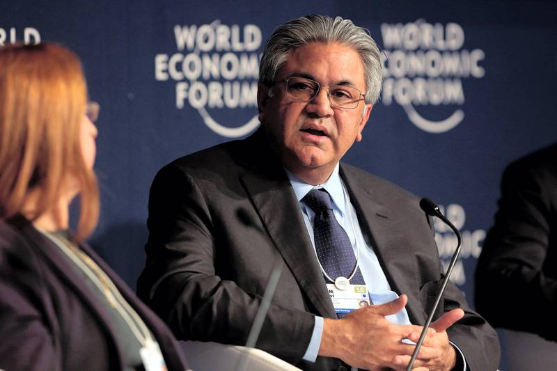 Arif Naqvi, chief executive officer of Abraaj Capital Ltd., speaks during a panel session at the World Economic Forum (WEF) in Davos, Switzerland, on Friday, Jan. 22, 2016. World leaders, influential executives, bankers and policy makers attend the 46th annual meeting of the World Economic Forum in Davos from Jan. 20 - 23. Photographer: Jason Alden/Bloomberg via Getty Images