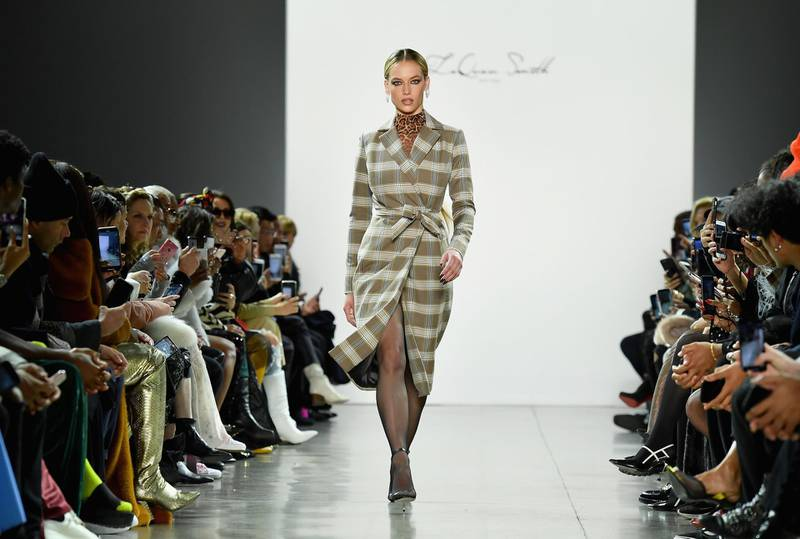 A model walks the runway at the LaQuan Smith fashion show during New York Fashion Week at Spring Studios on February 10, 2019 in New York City.  / AFP / Angela Weiss