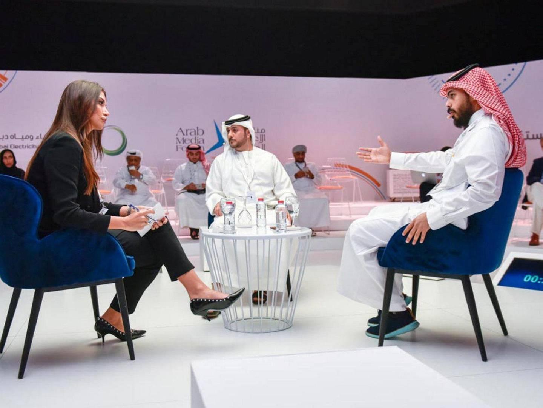 Abumalih at Arab Medi Forum. Abdulrahman Abumalih's podcast Fnjan in Saudi Arabia