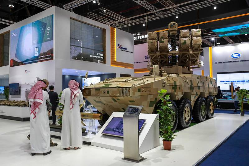 Abu Dhabi, U.A.E., February 18, 2019. INTERNATIONAL DEFENCE EXHIBITION AND CONFERENCE  2019 (IDEX) Day 2-- The Red Arrow 10 Multi-Purpose Missile System by Norinco.Victor Besa/The National