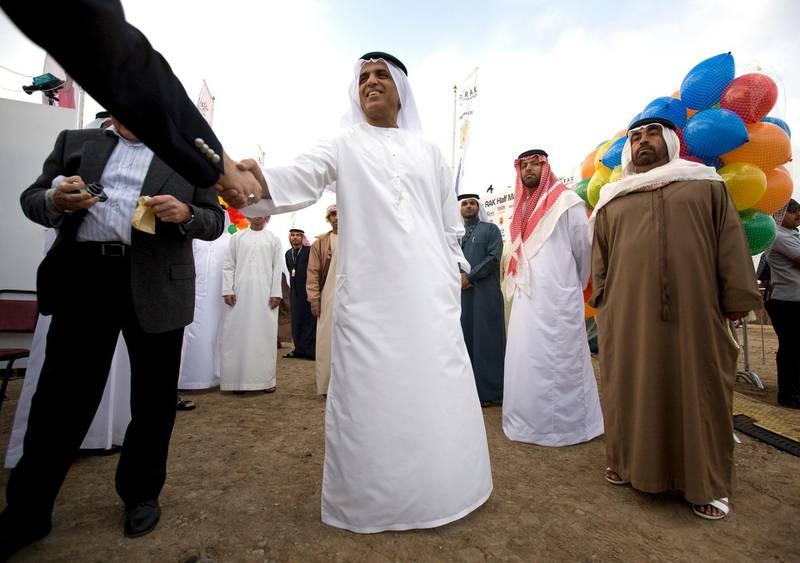 Ras Al Khaimah- February 20, 2009 - H.H. Sheikh Saud bin Saqr al Qasimi, crown prince and ruler of Ras Al Khaimah greets guests before the start of the RAK Half Marathon in Ras Al Khaimah, February 20, 2009. PLEASE CHECK SPELLING OF NAME. (Photo by Jeff Topping/ The National )  *** Local Caption ***  JT012-0220-RAK MARATHON IMG_8602.jpgJT012-0220-RAK MARATHON IMG_8602.jpg
