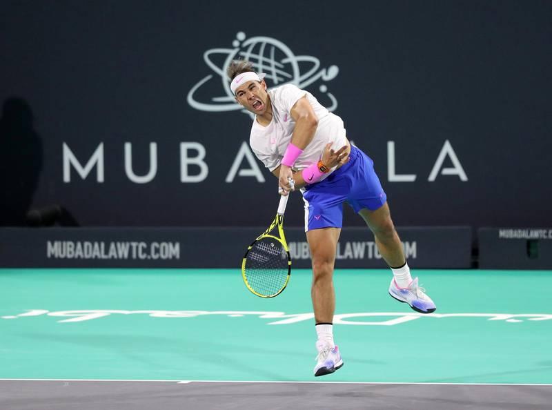 Abu Dhabi, United Arab Emirates - Reporter: Jon Turner: Rafael Nadal serves during the final between Rafael Nadal v Stefanos Tsitsipas at the Mubadala World Tennis Championship. Saturday, December 21st, 2019. Zayed Sports City, Abu Dhabi. Chris Whiteoak / The National