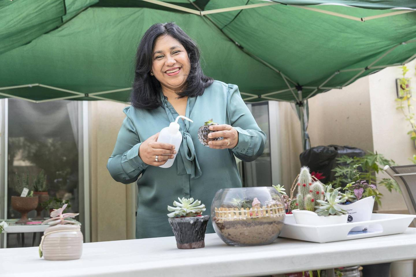 DUBAI, UNITED ARAB EMIRATES. 17 APRIL 2018. Romina Borawake works as a banker by day and moonlights as a gardener, specialising in succulents in her free time. (Photo: Antonie Robertson/The National) Journalist: Pana Munyal. Section: Weekend.