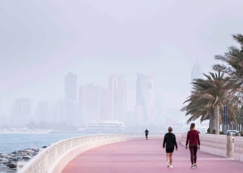 DUBAI, UNITED ARAB EMIRATES. 9 MARCH 2020. Haze of dust covering Dubai's sky.(Photo: Reem Mohammed/The National)Reporter:Section: