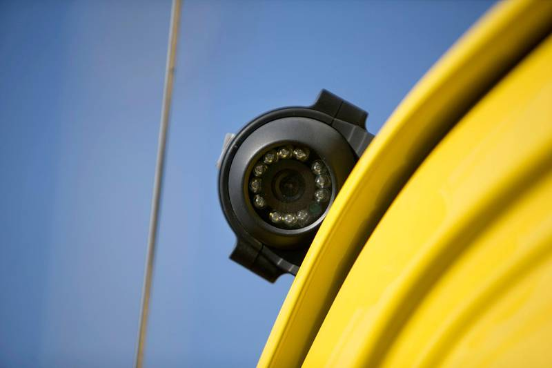 ABU DHABI, UNITED ARAB EMIRATES, Feb. 4, 2015:   An external school-bus camera as seen on Wednesday, Feb. 4, 2015, at the Al Nahda Schools'  school-bus parking lot. All new school busses are now equipped with seat belts, 2 internal and 4 external CCTV cameras. (Silvia Razgova / The National)  /  Usage: Feb. 4, 2015 /  Section: NA /  Reporter:  Ramona Ruiz  *** Local Caption ***  SR-150204-schoolbusses06.jpg