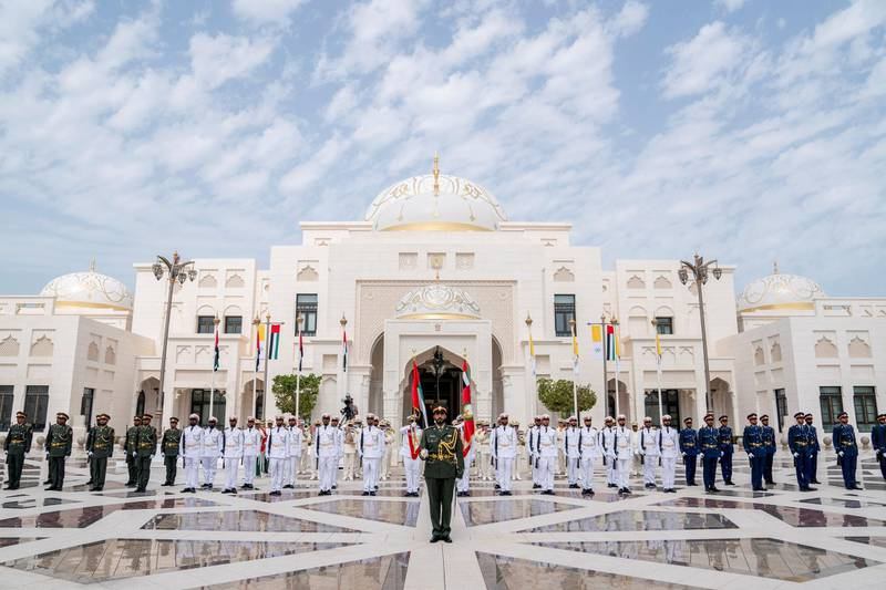ABU DHABI, UNITED ARAB EMIRATES - February 4, 2019: Day two of the UAE papal visit - Members of the UAE Armed participate during a reception for His Holiness Pope Francis, Head of the Catholic Church (not shown), at the Presidential Palace. ( Eissa Al Hammadi for the Ministry of Presidential Affairs ) ---