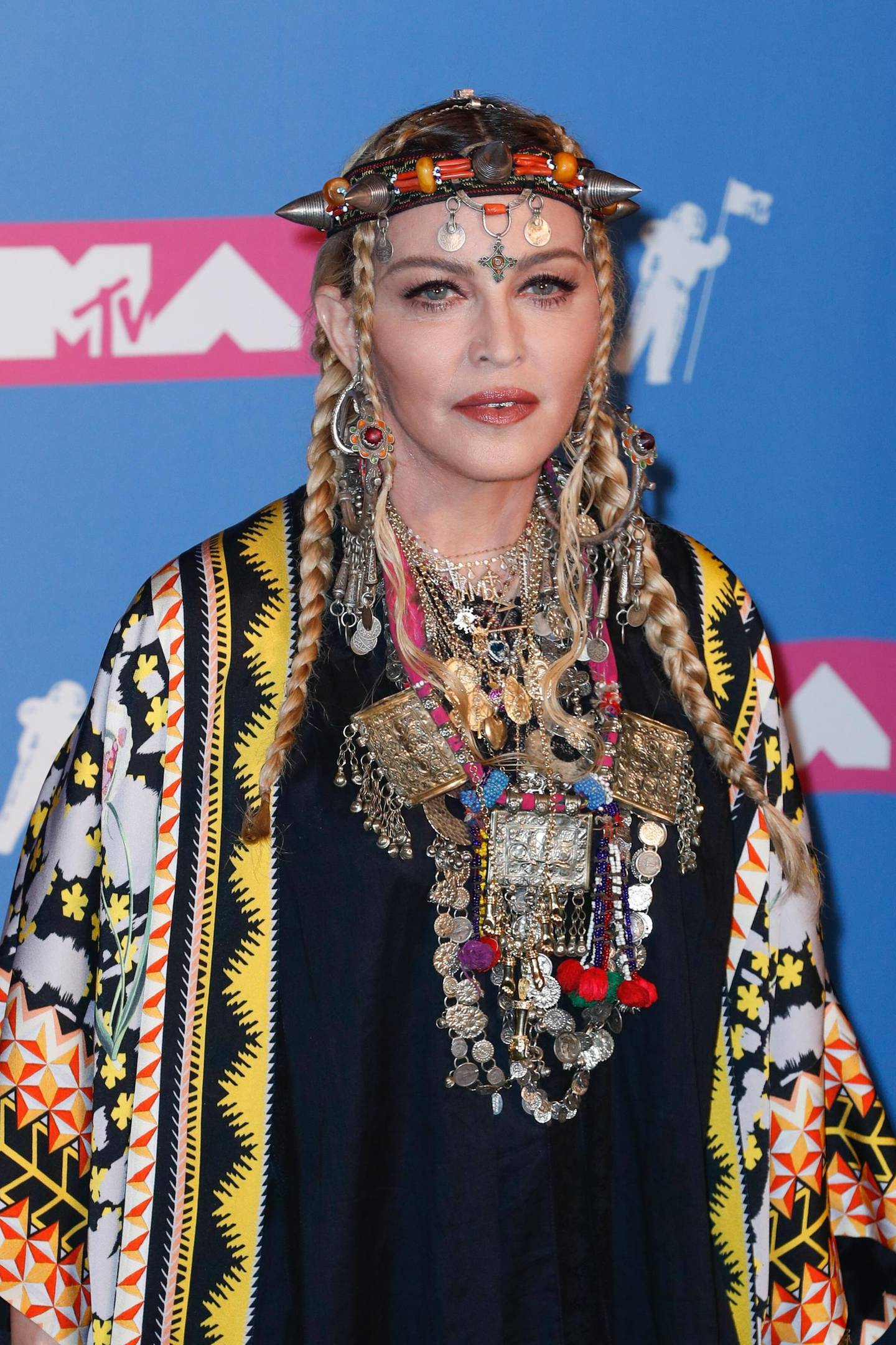 epa06961509 US singer-songwriter Madonna poses in the press room at the 2018 MTV Video Music Awards at Radio City Music Hall in New York, New York, USA, 20 August 2018.  EPA/JASON SZENES