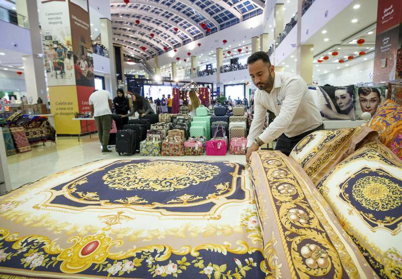 DUBAI, UNITED ARAB EMIRATES, 04 May 2018 - Different items for sale including beds and sheets at Ramadan Market, Dragon Mart 2.  Leslie Pableo for The National for Ellen Fortini's story