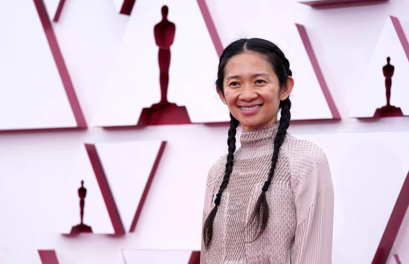 epa09159948 Chloe Zhao arrives for the 93rd annual Academy Awards ceremony at Union Station in Los Angeles, California, USA, 25 April 2021. The Oscars are presented for outstanding individual or collective efforts in filmmaking in 24 categories. The Oscars happen two months later than originally planned, due to the impact of the coronavirus COVID-19 pandemic on cinema.  EPA/Chris Pizzello / POOL *** Local Caption *** 55864152
