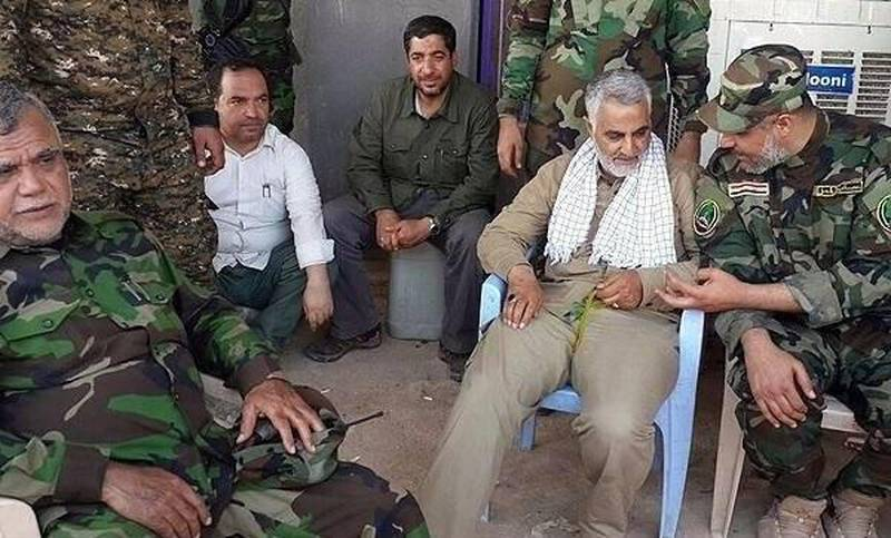 Major general Qasem Soleimani and Hadi AlAmeri, head of Iraqi Badr organization, on the frontlines of fighting ISIS.