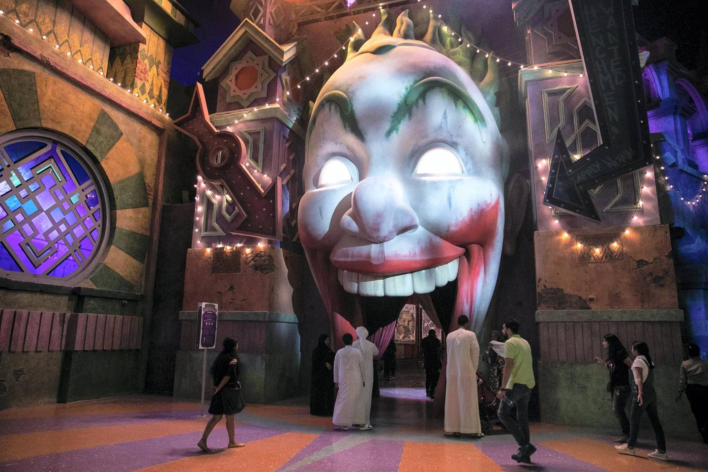 ABU DHABI, UNITED ARAB EMIRATES - JULY 24, 2018. The Joker Funhouse at Gotham city in Warner Bros World Abu Dhabi.Almost 15,000 tickets for Warner Bros World Abu Dhabi have been sold ahead of opening to the public on Wednesday.(Photo by Reem Mohammed/The National)Reporter: Section: NA + AL