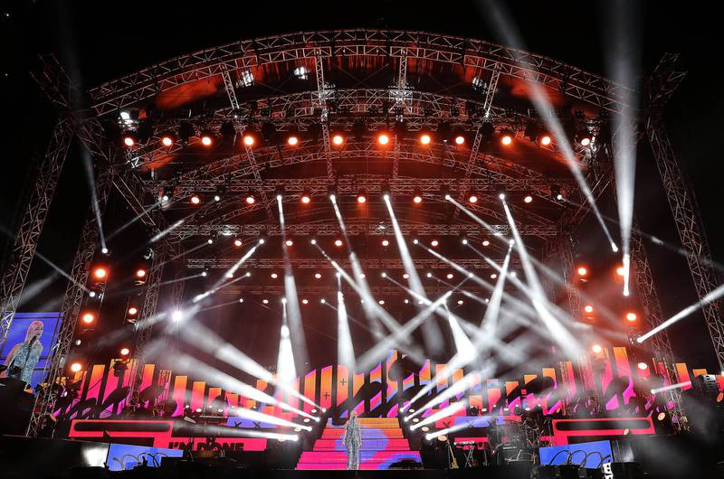DUBAI , UNITED ARAB EMIRATES , December 18 – 2020 :- Anne Marie performing at the Burj Park in downtown Dubai on the second day of the DSF opening concert in Dubai.  ( Pawan Singh / The National ) For Arts & Culture/Online/Instagram. Story by Janice Rodrigues
