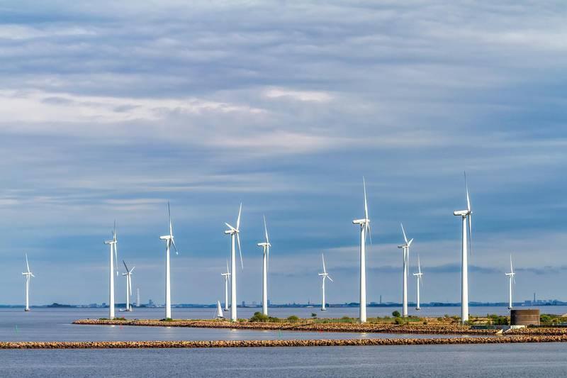 H91FA9 Wind Turbines In Copenhagen Harbour Denmark. Graham Mulrooney / Alamy Stock Photo