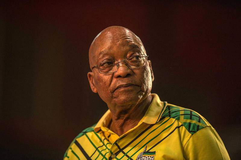 This file photo taken on December 16, 2017 shows South Africa's president Jacob Zuma speaking during the 54th ANC (African National Congress) national conference in Johannesburg. Pressure is mounting on South Africa's scandal-tarred president, Jacob Zuma, to leave office ahead of elections next year. / AFP PHOTO / MUJAHID SAFODIEN
