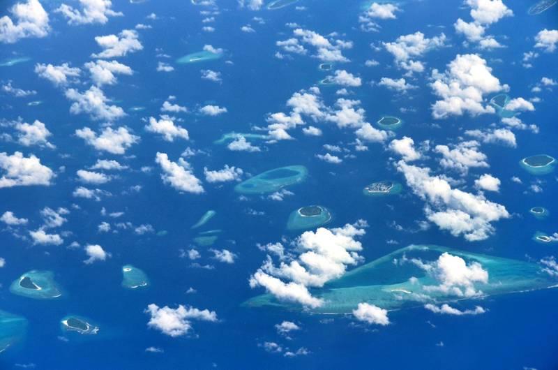 Aerial view of Baa Atoll and Hani Kandu Channel, Maldives, Indian Ocean.