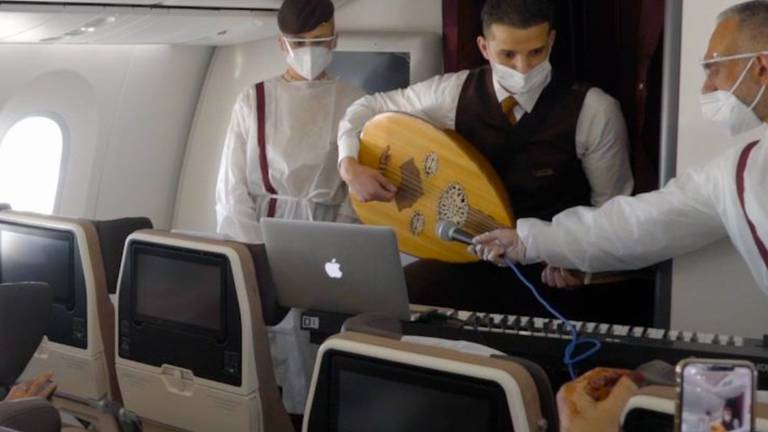 An image that illustrates this article Etihad cabin crew member performs concert in the sky