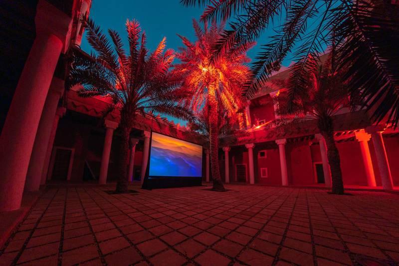 Ayman Zedani, Earthseed, 2021, 3-channel video installation.Courtesy the artist. Photo © Riyadh Art