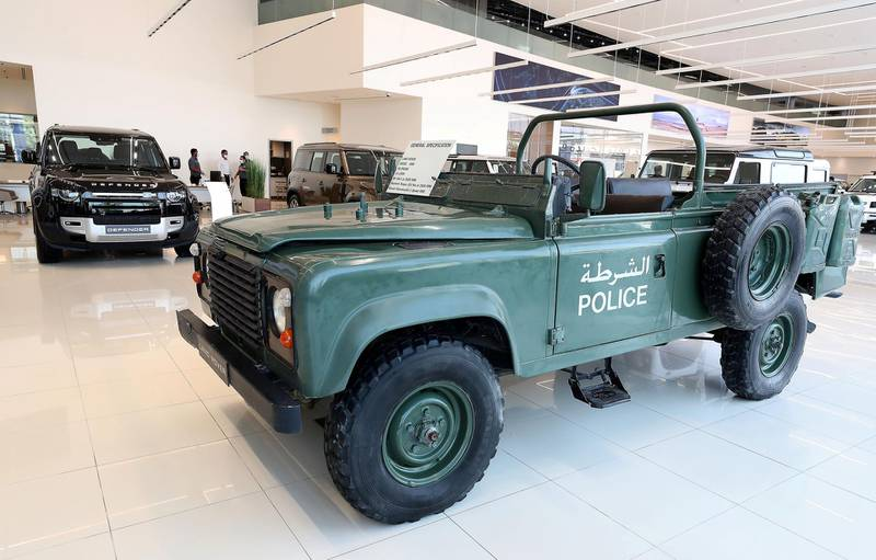 DUBAI, UNITED ARAB EMIRATES , June 27 – 2020 :- Classic Police Land Rover Defender on display at the Land Rover Defenders showroom on Sheikh Zayed Road in Dubai. (Pawan Singh / The National) For Motoring. Story by Simon