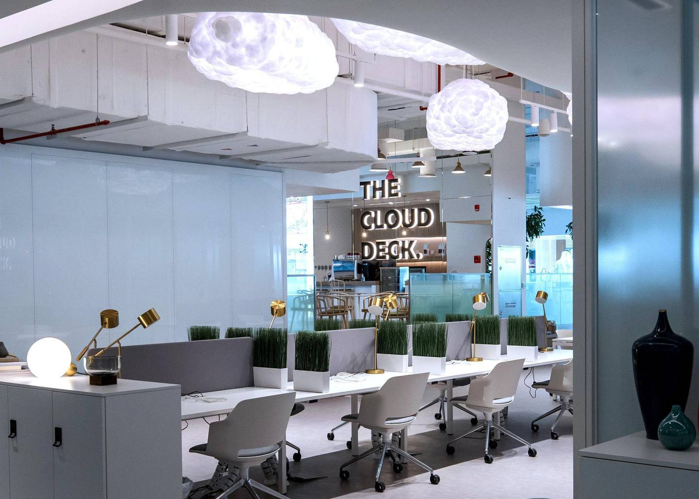 Abu Dhabi, United Arab Emirates, October  12, 2020.  Cloud Spaces has opened at Yas Mall.  Cloud Spaces - flexible workspace solutions with inspiring co-working zones, meeting rooms and contemporary serviced offices.Victor Besa/The NationalSection: LFReporter:  Evelyn Lau