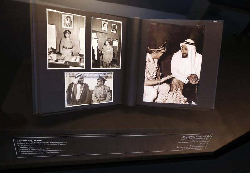 Dubai, United Arab Emirates - Reporter: Alexandra Chaves. Arts and Life. Photographs in Dialogue at the Etihad Museum documents the diplomatic relationship between the UK and the UAE, from the 1960s and 70s to the foundation of the country in 1971. A photograph album containing photographs of the UAE taken by Colonel Edward Wilson. Monday, August 24th, 2020. Dubai. Chris Whiteoak / The National