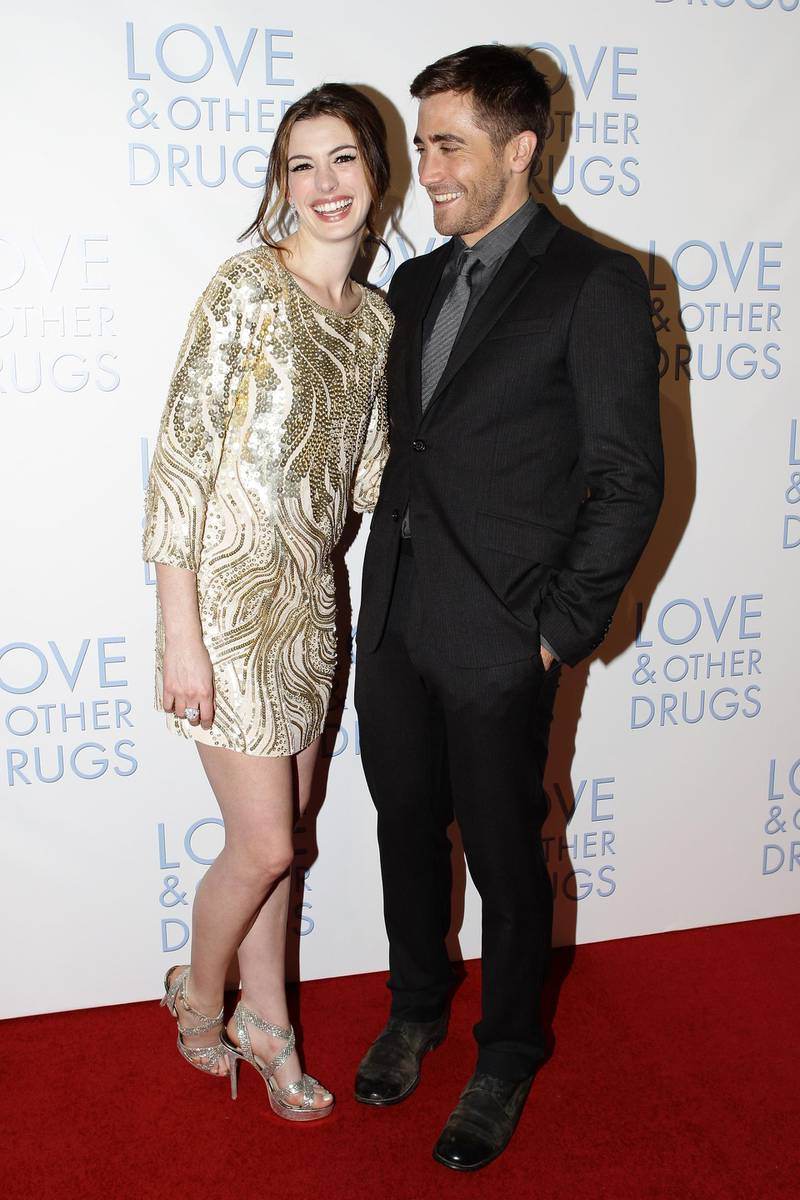 """SYDNEY, AUSTRALIA - DECEMBER 06:  Anne Hathaway and Jake Gyllenhaal attend the Sydney premiere of """"Love & Other Drugs"""" at Event Cinemas George Street on December 6, 2010 in Sydney, Australia.  (Photo by Brendon Thorne/Getty Images)"""