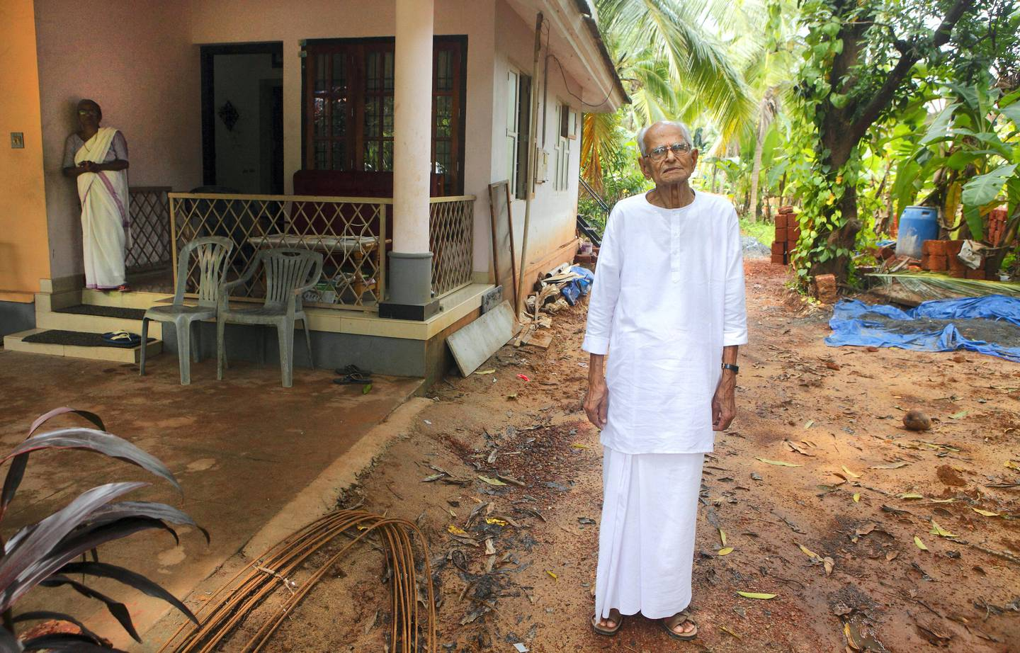 10 Aug 2017 - Payannur , INDIA. V. P. Appukutta Puduval, 94, stands in the garden of  his house in Kerala.(Subhash Sharma for The National)