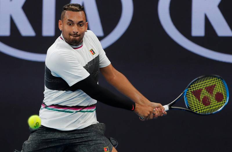 Tennis - Australian Open - First Round - Melbourne Park, Melbourne, Australia, January 15, 2019. Australia's Nick Kyrgios in action during the match against Canada's Milos Raonic. REUTERS/Adnan Abidi