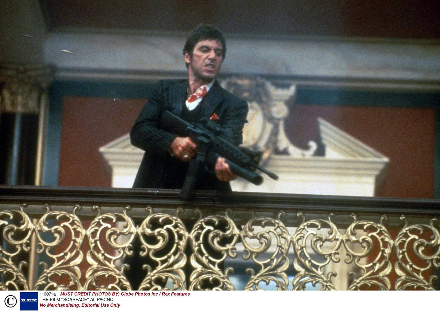 No Merchandising. Editorial Use Only Mandatory Credit: Photo by Globe Photos Inc / Rex Features ( 110071a ) AL PACINO THE FILM ''SCARFACE''