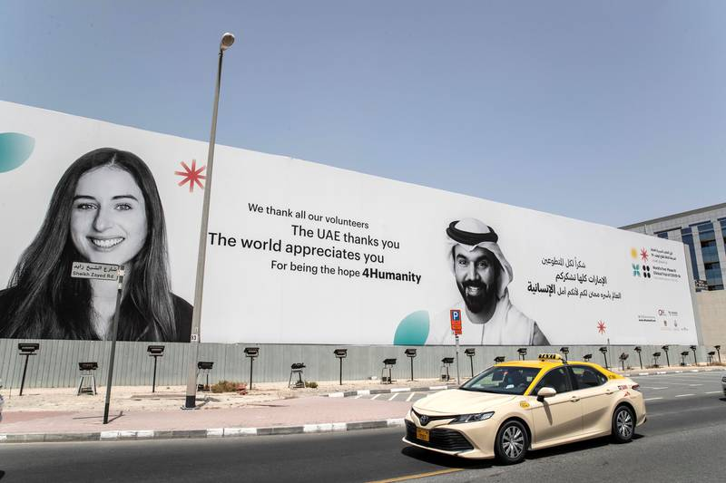 DUBAI, UNITED ARAB EMIRATES. 31 AUGUST 2020. STANDALONE. Billboard along Sheikh Zayed Road near the Business Bay Metro station in the direction abu Dhabi bound thanking the COVID Vaccine volunteers for the Phase 3 trials conducted in the UAE. (Photo: Antonie Robertson/The National) Journalist: None. Section: National.