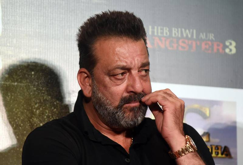 Indian Bollywood actor Sanjay Dutt looks on during the trailer launch of the upcoming drama Hindi film 'Saheb, Biwi Aur Gangster 3' in Mumbai on June 30, 2018.  / AFP / Sujit Jaiswal