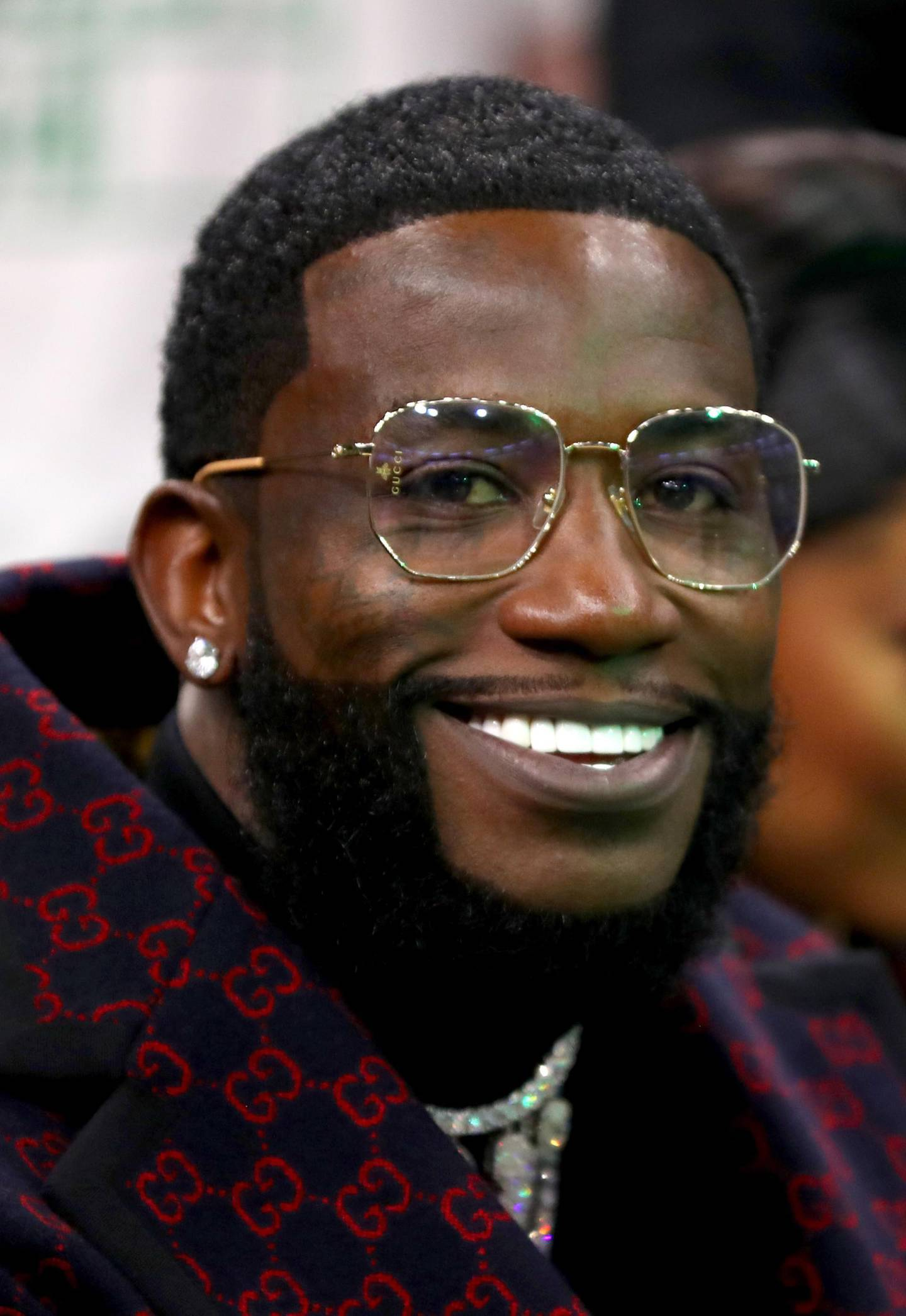 BOSTON, MASSACHUSETTS - NOVEMBER 27: Rapper Gucci Mane looks on from court side before the game between the Boston Celtics and the Brooklyn Nets TD Garden on November 27, 2019 in Boston, Massachusetts.   Maddie Meyer/Getty Images/AFP
