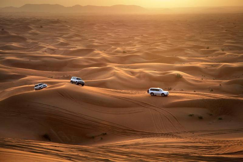 Although it's great fun for tourists and locals alike, dune bashing in Dubai is slowly wrecking the once-pristine deserts around the city. Getty Images