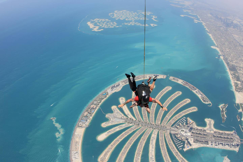 DUBAI,UAE - JUNE 17: Arci Munoz aka Ramona Thornes in freefall over the man made Palm Jumeirah Island in Dubai, United Arab Emirates, on June 17, 2018. (Photo by Skydive Dubai/Getty Images)