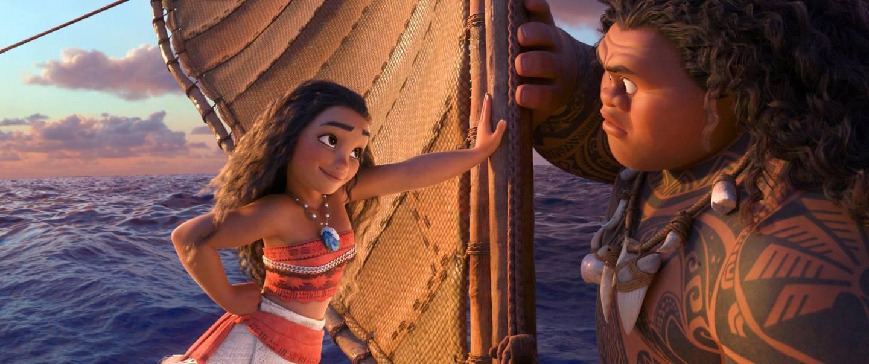 Dwayne Johnson and Auli'i Cravalho in Moana. Courtesy Walt Disney Studios Motion Pictures