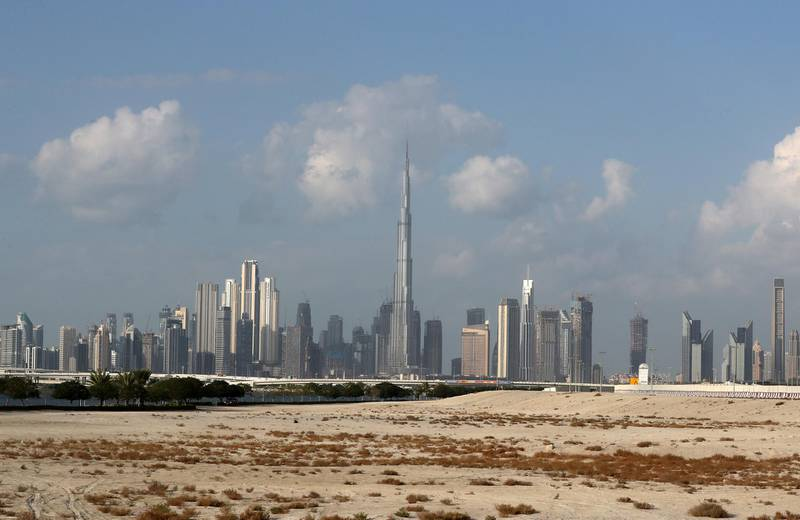 DUBAI , UNITED ARAB EMIRATES , November 24 – 2020 :- Burj Khalifa during the early morning cloudy weather in Dubai. ( Pawan Singh / The National ) For News/Standalone/Instagram/Big Picture